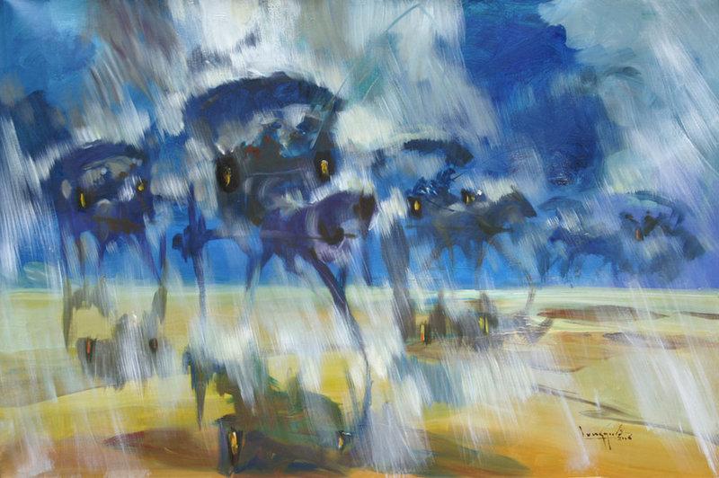 Horse Carts in Rain by U Lun Gywe