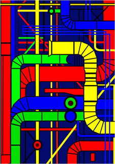 The Center Georges Pompidou (Left Version) by Asbjorn Lonvig