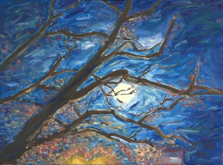 A moon between branches by Moti Lorber