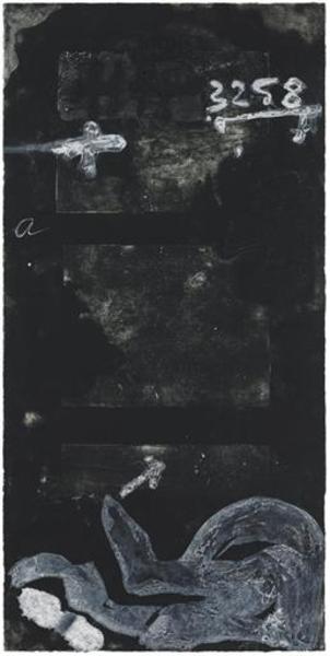 Signs on door by Antoni Tàpies
