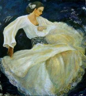 Flamenco dancer in white dress by Sylva Zalmanson