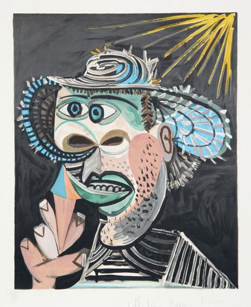 Homme Au Cornet Original Art By Picasso Estate Collection