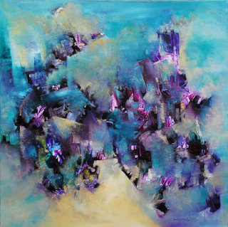 The houses of essence, oil on canvas, signed by Lidia Solanot
