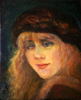 A head of a girl with red beret girl by Sylva Zalmanson