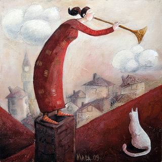 women's red and white cat by Mariela Dimitrova MARA