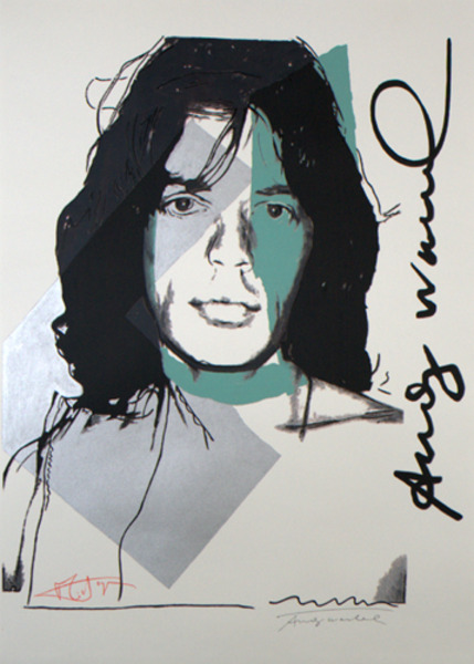 """Andy Warhol - """"Mick Jagger"""" (Silver Portrait - Andy Warhol & Mick Jagger Signed, Artist Proof) by Andy Warhol"""