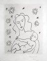 Vierge er Enfant sur fond de fleurs et d'etoiles by Henri Matisse