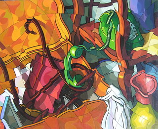 Desorden con telefono verde by José Sanz Sala