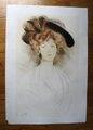 Facing portrait of a woman by Paul César Helleu