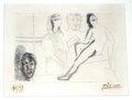 Sculpteur devant sa sculpture avec jeun fille au turban et tete sculpte by Pablo Picasso