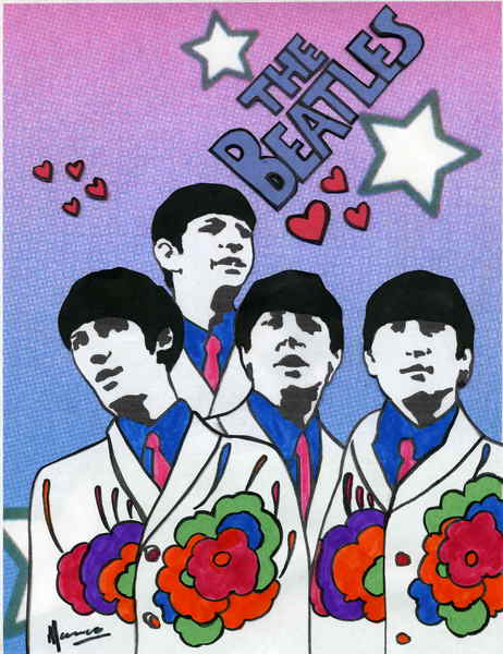 The Beatles moments 3 - Love Stars flowers Original Art by Marco ...
