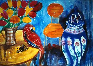 Interior with Parrot by Chris-Ann Kent