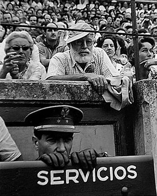 Hemingway at the Running of the Bulls, Pamplona, Spain by Francesc Catalá Roca