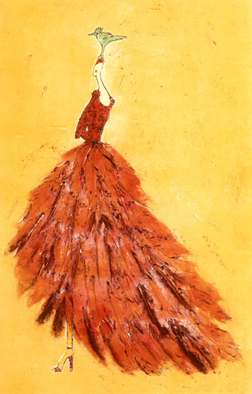 Snotty sonia 180 s giant feather dress original art by alece birnbach