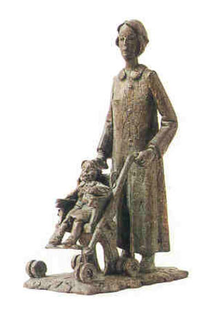 Woman with Baby Carriage by Manuel López Pérez