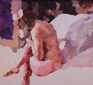 Sitting Nude by Afshin Naghouni