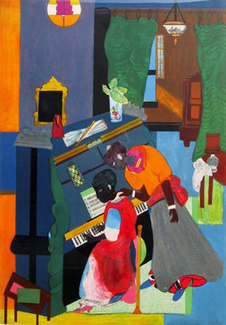 Homage to Mary Lou (The Piano Lesson) by Romare Bearden