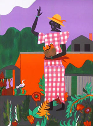 Girl In The Garden by Romare Bearden