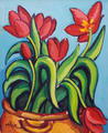 Large Earthen Jar with Tulips by Lola López