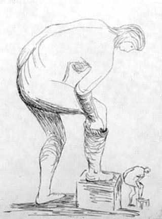 Woman Putting on Stocking by Henry Moore