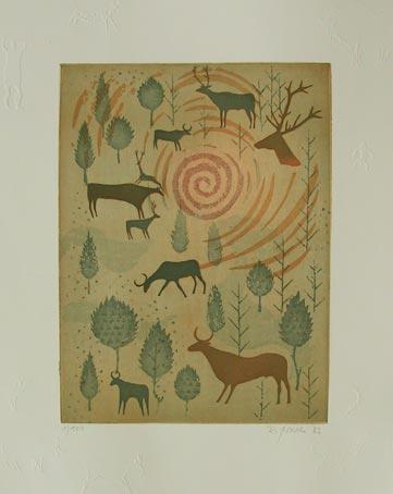 Steppentiere mit Spiralsonne (Animals with Spiral Sun) by Reimund Franke
