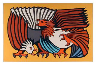 Orange Fighting Cocks by Víctor Delfín