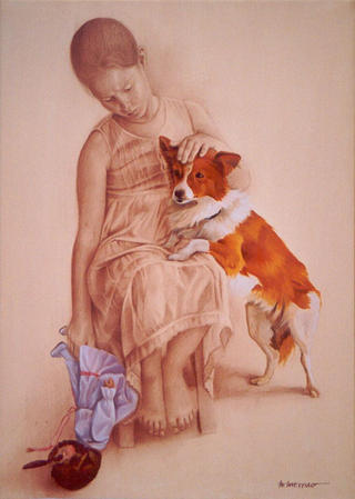 Child with Dog and Doll by Maribel Moreno