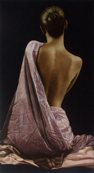 Rückenakt mit Zwei Tüchern (Nude Back with Two Cloths) by Willi Kissmer