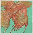 Orange Fish on Green by Ralph Kiggell