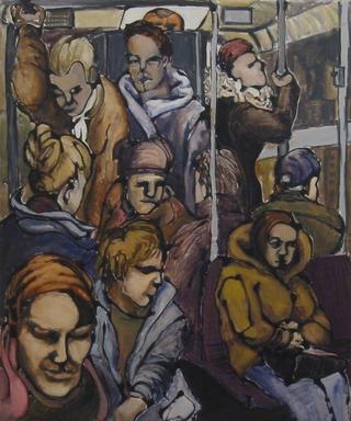 Tram Crowd by Hilary Senhanli