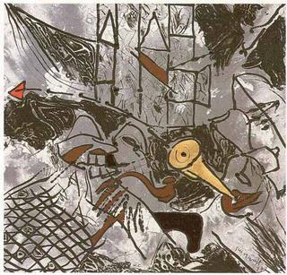A la Izquierda, a la Derecha, por el Sur y por el Norte, se levanta el Muro Impasible (A García Lorca un Poeta en Nueva York Series) by Josep Mª Guinovart