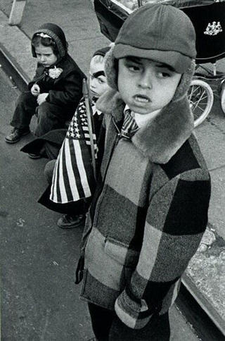Three Kids and Flag by William Klein