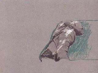 Figure Over the Grass (56) by Rafael Canogar