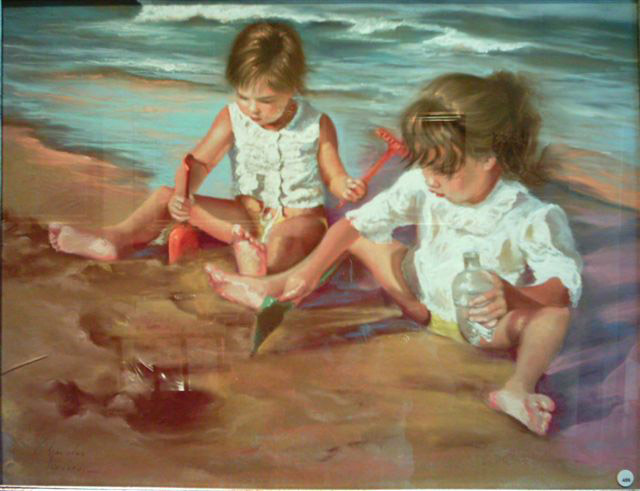 Girls Playing at The Beach by Condés Pizarro