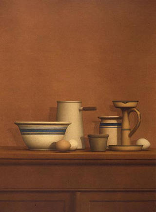 Still Life with Eggs, Candlestick and Bowl by William Bailey