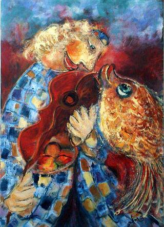 Musician and Goldfish by Malka Tsentsiper