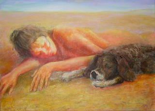 Girl & Dog by Sylva Zalmanson