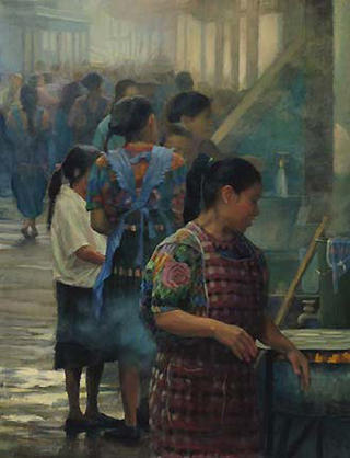 Young Girls in the Market, Chichicastenago by Pip Todd Warmoth