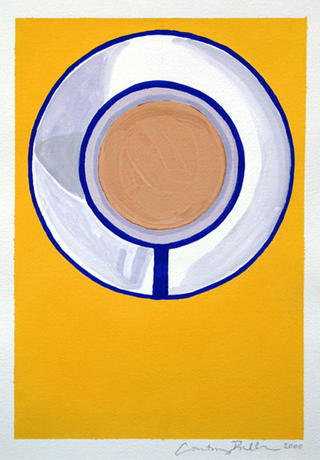 One Tea Cup on Yellow by Courtney Miller Bellairs