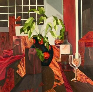 Still Life with a Plant by Afshin Naghouni