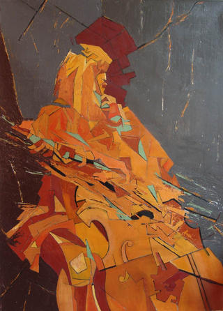 The Cello Player by Afshin Naghouni