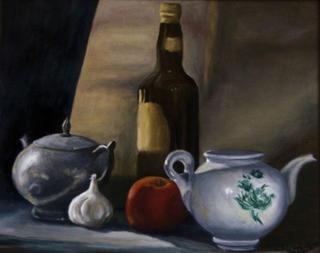 Still Life with Two Teapots by Rosario de Mattos