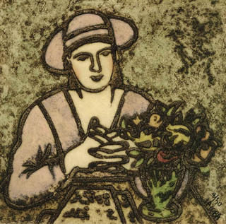 Woman and Flowers by Jacoba