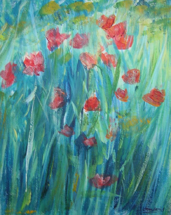 Poppies Blue Background by Roberto Donderis Albert