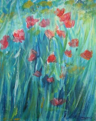 Poppies Blue Background by Roberto Donderis Albert