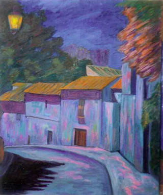Street at Night Segovia by Paulino Lorenzo Tardón