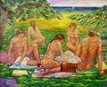 Nudists Under Trees Near the Beach by Paulino Lorenzo Tardón