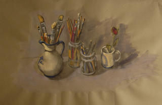 Paintbrushes and Rose by Marta González Martín