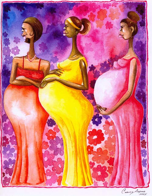 Three Pregnant Women Original Art by Carlos Andino ...