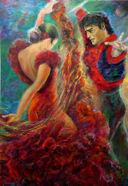 Flamenco Dancers Original Art By Sylva Zalmanson Picassomio